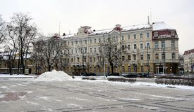 Vilnius City White Winter Morning Time Panorama Stock Photos