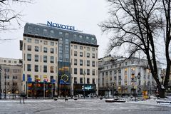 Vilnius City White Winter Morning Time Panorama Royalty Free Stock Images