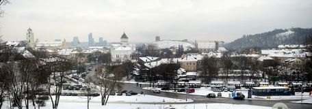 Vilnius City White Winter Morning Time Panorama Royalty Free Stock Photo