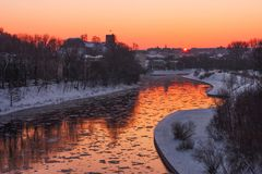 Vilnius city at winter in the evening stock photo