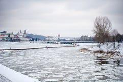 Vilnius in de Winter stock afbeeldingen