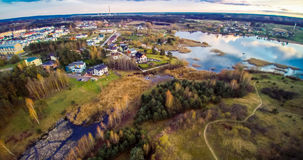 Vilnius district. Lake aerial view, Vilnius city, near Pilaite Royalty Free Stock Images