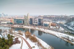 Vilnius, drone photo of river and town royalty free stock photography