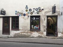 Vilnius. Facade of music and books store in Old Town royalty free stock photography