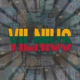 Vilnius flaggatext på eurosunburstillustration stock illustrationer