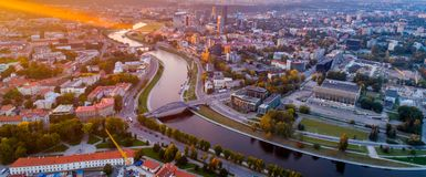 Vilnius flygbild Arkivfoto