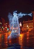 Vilnius gammal stadfyrkant som dekoreras för jul Arkivfoto
