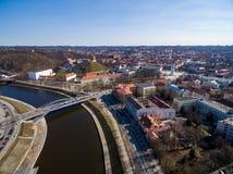 Vilnius Gediminas Basztowy i Rzeczny Neris w tle Lithuania Vilnius pejzaż miejski Obraz Royalty Free