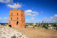 Vilnius Gediminas castle on the hill near Neris river Royalty Free Stock Images