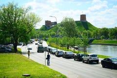 Vilnius Gediminas castle on the hill near Neris river Stock Photos