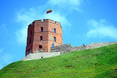 Vilnius Gediminas castle on the hill near Neris river. VILNIUS, LITHUANIA - MAY 8: Vilnius Gediminas castle on the hill near Neris river on May 8, 2015, Vilnius stock image