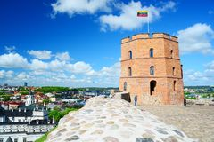 Vilnius Gediminas castle on the hill near Neris river. VILNIUS, LITHUANIA - MAY 8: Vilnius Gediminas castle on the hill near Neris river on May 8, 2015, Vilnius royalty free stock photography