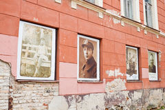 Vilnius ghetto memorial. Pictures of Vilnius jews displayed in w Royalty Free Stock Images