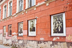 Vilnius ghetto memorial. Pictures of Vilnius jews displayed in w Royalty Free Stock Image