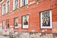 Vilnius ghetto memorial. Pictures of Vilnius jews displayed in w Royalty Free Stock Image