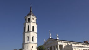 Vilnius historical cathedral and bell tower stock footage