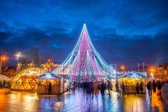 Vilnius julgran Europa ljus royaltyfria bilder