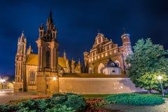 Vilnius-Kirche nachts und Yard mit Blumen Lizenzfreie Stockbilder