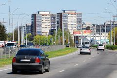 Vilnius Laisves prospect at Karoliniskes on April 26, 2014 Royalty Free Stock Photography