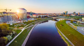 Vilnius landscape. Vilnius with river Neris at sunset Stock Photos