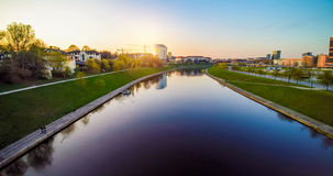 Vilnius landscape. Vilnius with river Neris at sunset Royalty Free Stock Photos