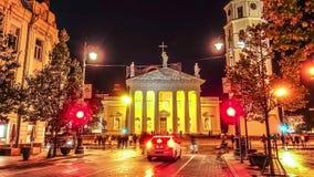 Vilnius Litauen domkyrka, timelapse stock video