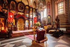 Vilnius Litauen Iconostasis av Christian Orthodox Church Arkivfoto