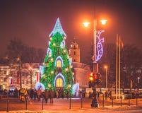 Vilnius Litauen, jultid Arkivfoto