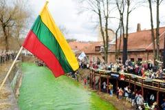 VILNIUS, LITAUEN - 18. MÄRZ 2017: Hunderte von den Leuten, die Festlichkeiten genießen und St- Patrick` s Tag in Vilnius feiern Stockfoto