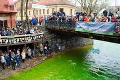 VILNIUS, LITAUEN - 18. MÄRZ 2017: Hunderte von den Leuten, die Festlichkeiten genießen und St- Patrick` s Tag in Vilnius feiern Stockfotografie