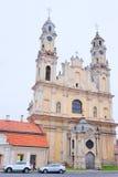 VILNIUS, LITAUEN, am 17. November 2014: Ansicht der Vilnius-Kirche Stockfotografie