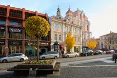 Vilnius, Litauen - 5. November 2017: Stadt Hall Square in der Herbstzeit Stockfoto