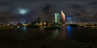 Free VILNIUS, LITHIUANIA - NOVEMBER 2019: Full Seamless Spherical Hdri Night Panorama 360 Degrees Angle View Area Of Modern Skyscrapers Stock Photography - 163606412