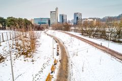 Vilnius, Lithuania. Aerial photo in winter royalty free stock images