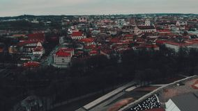Vilnius, Lithuania, aerial time-lapse view to the old town from Gediminas Castle stock footage