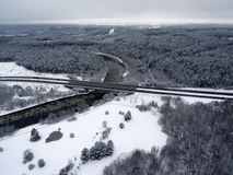 Vilnius, Lithuania: Aerial Top View Of Neris River, Surrounding Forests And Gariunai Road Stock Photos