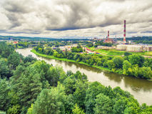 Vilnius, Lithuania: aerial UAV top view of Neris river and industrial area in Vilkpede Stock Photo