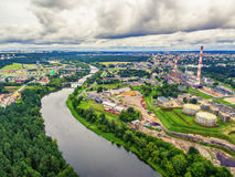 Vilnius, Lithuania: aerial UAV top view of Neris river and industrial area in Vilkpede Royalty Free Stock Images