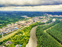 Vilnius, Lithuania: aerial UAV top view of Neris river and industrial area in Vilkpede Royalty Free Stock Photography