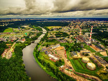Vilnius, Lithuania: aerial UAV top view of Neris river and industrial area in Vilkpede Royalty Free Stock Photos