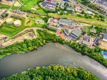 Vilnius, Lithuania: aerial UAV top view of Neris river and industrial area in Vilkpede Stock Image