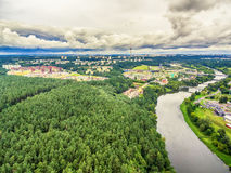 Vilnius, Lithuania: aerial UAV top view of Neris river and park in Bukciai. In the summer Royalty Free Stock Photo