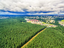 Vilnius, Lithuania: aerial UAV top view of Neris river and park in Bukciai. In the summer Stock Photography
