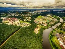 Vilnius, Lithuania: aerial UAV top view of Neris river and park in Bukciai Stock Photo