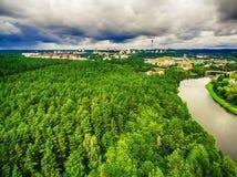 Vilnius, Lithuania: aerial UAV top view of Neris river and park in Bukciai Stock Photos