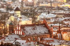 Vilnius, Lithuania: Aerial View Of The Old Town In Winter Stock Photo