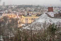 Vilnius, Lithuania: aerial view of the old town,  christmas tree and decorations in Cathedral Square Stock Image