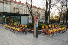 Vilnius, Lithuania. 30 april 2017. Parking with bicycles for rent in Vilnius stock photos