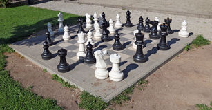 Large plastic figures of the Giant Chess Stock Images