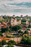 Vilnius, Lithuania. Bastion Of Vilnius city wall and orthodox church of The Holy Spirit In Summer Day. Vilnius Old Town. Vilnius, Lithuania. Aerial view of the Stock Photography